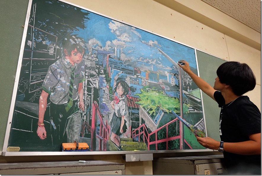 濱崎先生の描く黒板アート「君の名は」の圧倒的なクオリティ!日本人教師を海外が大絶賛!
